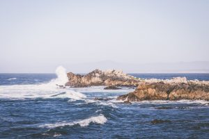 Crashing waves in Monterey CA.