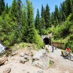 Biking, Route of the Hiawatha, Near Wallace, Idaho. Photo Credit: Idaho Tourism